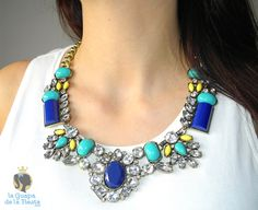 Collar azul y amarillo strass