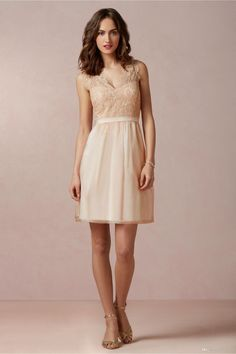 Champagne-Bridesmaid-Dress-Lace-