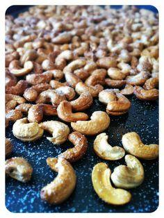 Roasted Cashews. 1 lb raw cashews, olive oil spray, sea salt. Roast at ...