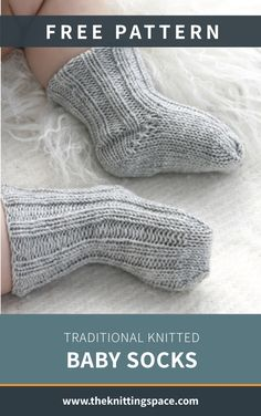 Traditional Knitted Baby Socks [FREE Knitting Pattern] - ,Make a whole set of these classic knitted baby socks for a thoughtful baby shower present. This pattern includes a free tutorial on The Kitchener Stitch to get you started. Knitted Socks Free Pattern, Baby Sweater Knitting Pattern, Knitting Socks, Knitting Patterns Free, Free Knitting, Knitting Tutorials, Knitting Machine, Vintage Knitting, Free Baby Knitting Patterns