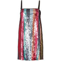 Tanya Taylor Erykah Sequin-Striped Mini Dress ($595) ❤ liked on Polyvore featuring dresses, multi, striped mini dress, short sequin dress, sequin dress, short dresses and sequin stripe dress