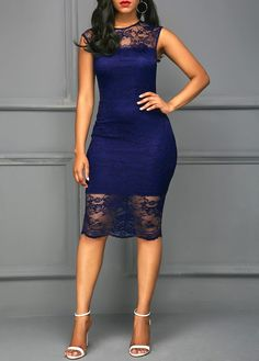 Round Neck Short Sleeve Navy Blue Lace Dress | Rosewe.com - USD $36.63