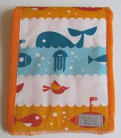 Organic Marine Life Birch Fabric on Orange by seworganiccreations, $6.50