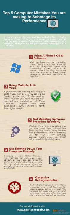 If you are a computer user and have availed offline or Online Computer Repair  While, everyone cannot be a geek, most all computer users are guilty of making these mistakes on regular. here are the top 5 computer mistakes.you are probably making with your computer: