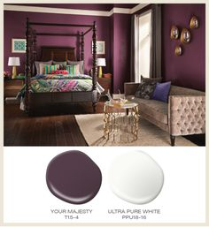 Color of the Month: Berry Red! Featured #BehrPaint room colors: Your Majesty T15-4, Ultra Pure White PPU18-16.