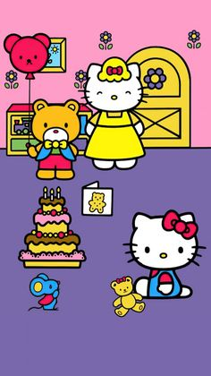Kitty Wallpaper, Kawaii Wallpaper, Sanrio Characters, Fictional Characters, Hello Kitty Backgrounds, Hello Kitty Pictures, My Melody, All Things Cute, Kawaii Cute