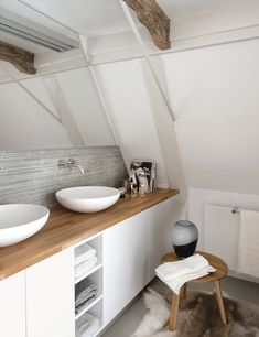 Sinks, white + wood + hide