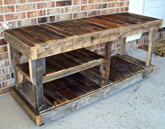 Reclaimed Wood Entertainment Console Natural Finish with Removable Parts. $595.00, via Etsy.