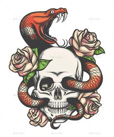 Buy Skull with Snake and Roses by on GraphicRiver. Colorful Tattoo design with skull, roses and snake. Snake Drawing, Snake Art, Skull Rose Tattoos, Body Art Tattoos, Tattoo Design Drawings, Tattoo Designs, Bauch Tattoos, Traditional Tattoo Art, Illustration Vector