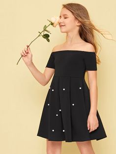 To find out about the Girls Off Shoulder Pearl Beading Boxy Pleated Dress at SHEIN, part of our latest Girls Dresses ready to shop online today! Girls Fashion Clothes, Girl Fashion, Fashion Outfits, Cute Girl Outfits, Cute Outfits For Kids, Cheap Dresses, Cute Dresses, Cord Pinafore Dress, Girls Dresses Online