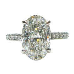 3.01 Carat Oval Diamond Platinum Engagement Ring #jbirnbach
