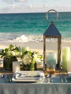 Lovely table at the beach, by doris