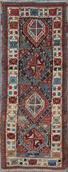 "KEIVAN WOVEN ARTS,   Type :Kuba Origin :Caucasus : Size : 3'2""x7'9""  Circa :1880"