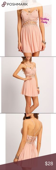 """🆕💕Chic Flower Lace Mini Dress 🍭Boutique=Brand New                                                        ❗️Size Runs Small, Suggest To Order One Size Up. Please Compare Your Size With Following Measurements Before Purchasing.                                                                        🌸Size S: B-31.5"""", W-26.8"""", L-30.7"""". Size M: B-33"""", W-28.3"""", L-31"""". Size L: B-34.6"""", W-30"""", L-31.5"""".                 🌸35%Cotton 65%Polyester                                           ❤Bundle 2…"""