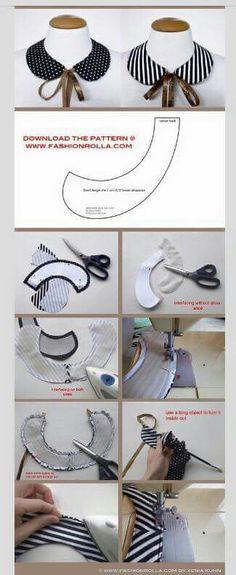 DYS: peter pan shaped collar by Xenia Kuhn for by deborah Sewing Hacks, Sewing Tutorials, Sewing Crafts, Sewing Projects, Sewing Patterns, Sewing Ideas, Diy Clothing, Sewing Clothes, Golas Peter Pan