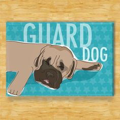 Mastiff Magnet - Sleeping Guard Dog - Mastiff Gifts Fridge Dog Refrigerator Magnets by PopDoggie on Etsy