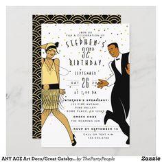 ANY AGE Art Deco/Great Gatsby/1920s Birthday Party Invitation Roaring 20s Party, 1920s Party, Gatsby Party, Zazzle Invitations, Invites, Birthday Party Invitations, Birthday Parties, 20th Birthday