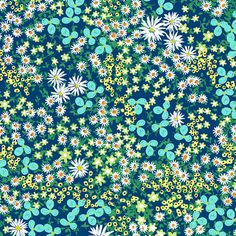 Flower Bed in Navy and Turquoise Unique Fabric for Quilting and Home Interior Projects