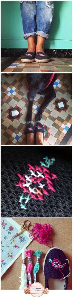 ¡Bordo todo lo que encuentro! He transformado unas zapatillas con punto cruz e hilos retors con rosas personalizadas! :) Inspirándome en librillos con patrones de la década del 70! Hilos retors: DMCSpain www.srtalylo.tumblr.com
