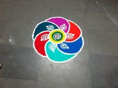 how to make fresh colour rangoli design - YouTube