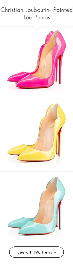 """Christian Louboutin- Pointed Toe Pumps"" by sakuragirl ❤ liked on Polyvore featuring shoes, pumps, heels, louboutin, christian louboutin, shocking, high heel shoes, pink high heel shoes, high heel court shoes and christian louboutin shoes"