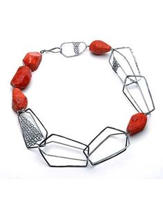 """Paulette J. Werger: Necklace in oxidized sterling silver, antique natural sponge coral, and hook closure, 18.5"""" l x 2"""" w x .5"""" h."""