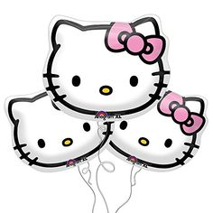 """Hello Kitty Face Foil Balloons 13""""x15"""" (Pack of 3) Anagram http://www.amazon.com/dp/B008X68N4I/ref=cm_sw_r_pi_dp_PUnoxb0K9ADQ7"""