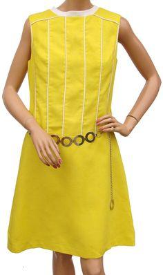 Vintage 1960s Mod Dress Designer Louis Feraud Paris