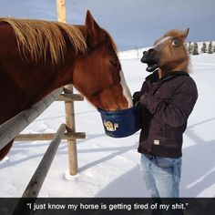 """""""I just know my horse is getting tired of my shit"""""""