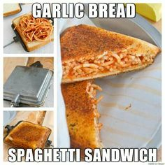 """Garlic Bread and Spaghetti Sandwich - Actually makes a lot of sense doesn't it? :) Standard """"Grilled Cheese"""" instructions - but you can also use a Pie Iron, George Foreman Grill, Waffle Iron,. or a regular Iron lol :) Lynn would love this! Garlic Bread Spaghetti, Spaghetti Sandwich, Spaghetti Pie, Spaghetti Tacos, Making Spaghetti, Pie Iron Recipes, Waffle Iron Recipes, Sandwich Maker Recipes, Sandwich Fillings"""