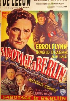 Desperate Journey - Sabotage à Berlin - Errol Flynn - Ronald Reagan - Vintage movie poster