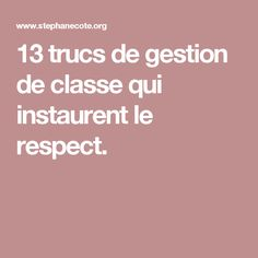 13 trucs de gestion de classe qui instaurent le respect. Classroom Organisation, Classroom Projects, Classroom Management, Teaching Tools, Teaching Art, Teaching English, Education Positive, Kids Education, Behaviour Management
