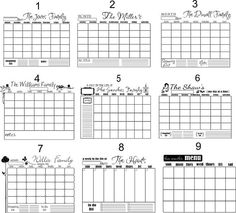 16x20 Personalized Vinyl Calendar Choose from 9 by SayItWithStyle