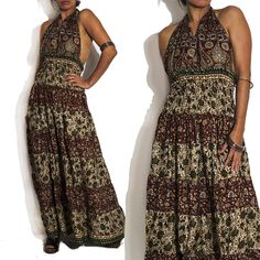 1970s Mix Batik Tiered Halter Maxi Dress now online. A curated selection of designer & unique vintage by A Part of the Rest