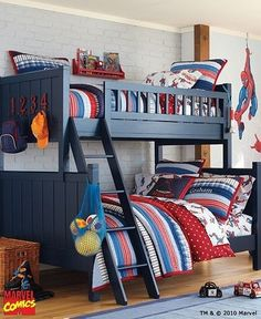 Lovable Spiderman Room Decor Spiderman Bedroom Ideas Amp Superhero Bedroom Ideas Pottery Barn - Most of us think of home decor at one factor of time. Full Bunk Beds, Kids Bunk Beds, Boys Bunk Bed Room Ideas, Cool Boys Room, Room Kids, Kids Rooms, Kids Bedroom, Bedroom Decor, Shared Rooms