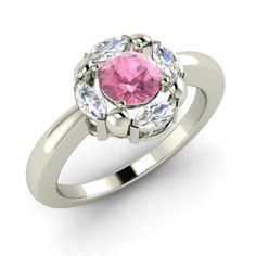 Round Pink Tourmaline  and VS Diamond Cocktail Ring in 14k White Gold