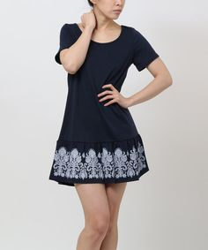 Look what I found on #zulily! Navy Damask Ruffle Shift Dress by funkitribe #zulilyfinds