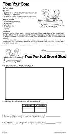 Float Your Boat Lesson Plan from Lakeshore Learning: Students predict how many pennies an aluminum foil boat will hold before it sinks!: