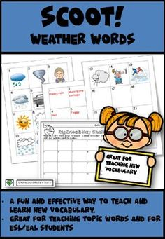 Weather Words Scoot by Whizz Kids Rocks Teacher Pay Teachers, Teacher Resources, Teaching Ideas, Pictures Of Weather, Weather Words, Teaching Vocabulary, Thinking Of Someone, Kid Rock, Second Language