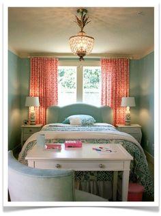 coral and aqua bedroom -- coral curtains