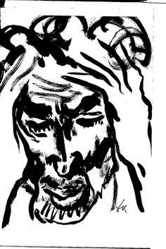 Nikolaj Dronnikov - Portrait of Gennadij Ajga Popular Art, Drawing People, Line Drawing, Line Art, Art Boards, Sign, Illustrations, Drawings, Artwork