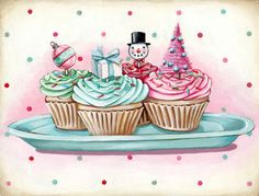 Christmas Cupcakes matted ready to frame print by Everyday is a Holiday
