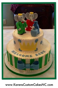 Babar the Elephant and Family. Baby shower cake made w buttercream and fondant decor. Figures made from rice cereal treats and fondant. Elephant Baby Shower Cake, Elephant Cakes, Cake Pictures, Cake Pics, Peanut Baby Shower, Baby Shower Themes Neutral, Baby Shower Flowers, Baby Shower Winter, Dream Cake