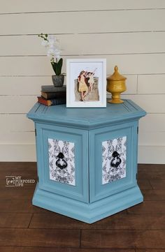 How to update a thrift store hexagon side table with chalky paint and wrapping paper decoupage. It's an easy project to your hexagon side table.