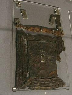 Leather purse ornate flap with silver buckle and mounts, 6th-7th century, Museum Burg Linn