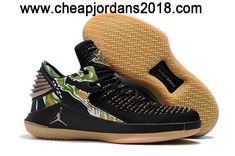 "2018 Air Jordan 32 Low ""Tiger Camo"" Black/Metallic Gold-White Shoes"