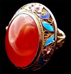 Huge Carnelian Chinese Export Gilded Silver Cloisonne Enamel Estate Ring Vintage