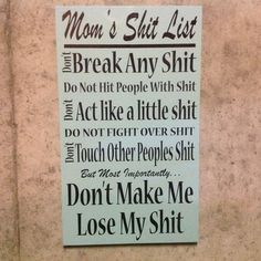 Mom's Shit List Custom Wooden Sign Home Decor Wood by wepaintsigns on Etsy