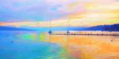 Sonnenaufgang am Zürichsee 2 150x75 cm Painting, Art, Sunrise, Art Background, Painting Art, Kunst, Paintings, Performing Arts, Painted Canvas