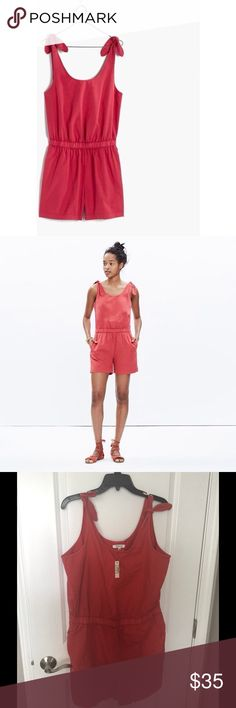 Madewell Romper Watermelon red Madewell romper. New with tags, so fun for the summer! Madewell Dresses Mini